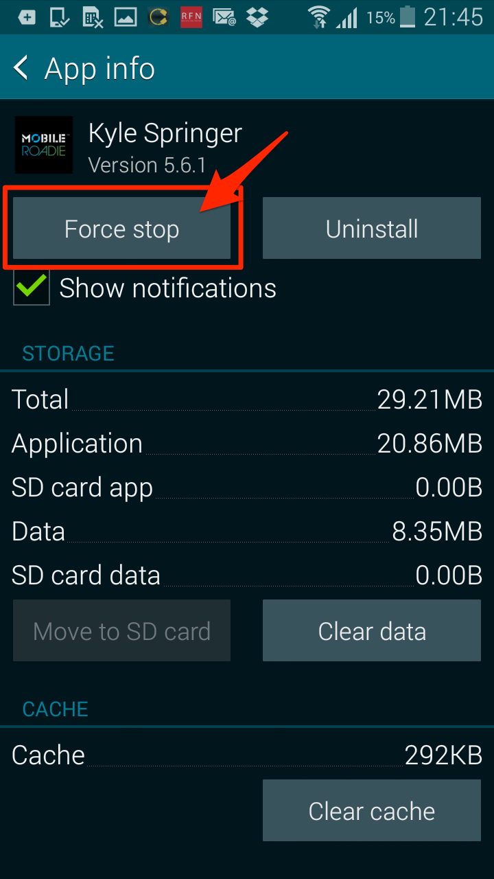 Android how to force stop dating apps